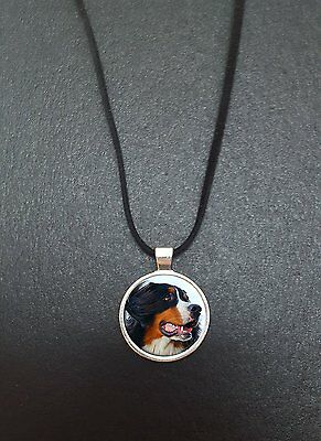"""Bernese Mountain Dog Pendant On a 18"""" Black Cord Necklace Ideal Gift N342"""