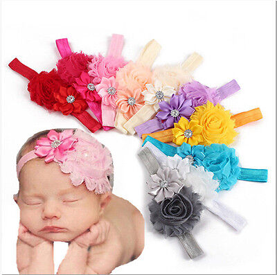 10pcs Kids Girl Baby Toddler Infant Flower Headband Hair Bow Band Accessories US