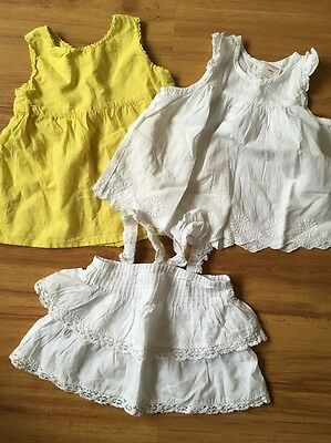 3 Baby Girls Tops Size 0 Ouch Seed & Bardot White Yellow Cotton