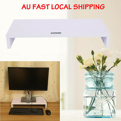 Wood Monitor Stand LCD LED Computer Monitor Riser Desktop Display Bracket White