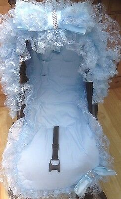 Pram Pushchair Frill Blue Bling Bow Hood Trim With Liner - Universal - Romany
