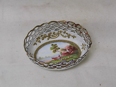 Small 18th Century English Battersea Enamel Basket well painted with rural scene