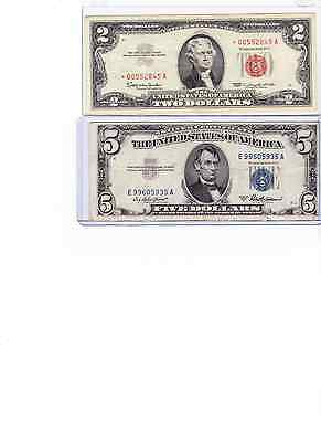 1963 $2 red seal star note 00 &1953A $5 Silver Certificate Lot of 2,
