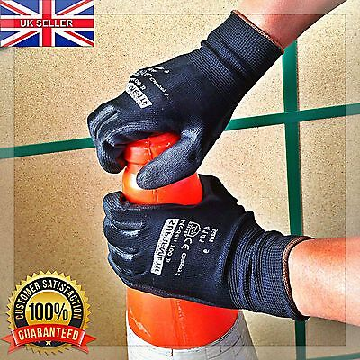1, 12 or 24 Pairs PU Coated Nylon Safety Work Gloves Mens Builders Garden Grip