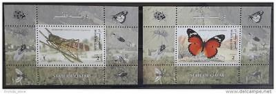 Qatar 1998 SG MS1041 Two Souvenir Sheets MNH S/S - Insects - Locust Butterflies