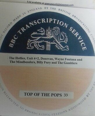 BILLY FURY, DONOVAN, HOLLIES Top Of The Pops BBC rare CD LIVE show