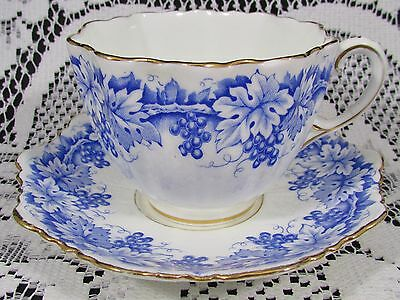 Paragon Cobalt Blue Grape Vines Embossed Tea Cup And Saucer Teacup
