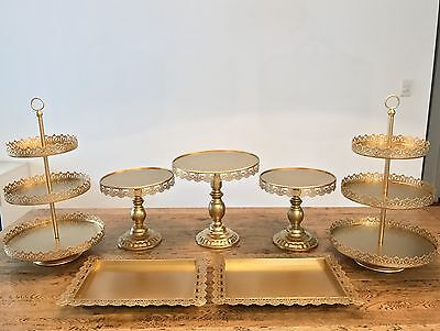 "Set of 7 Pieces Gold Cupcake 12"" 10"" 10"" Cake Stand Dessert Candy Bar"