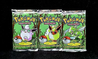Ultra Rare Set Of 3 Factory Sealed Jungle Booster Pokemon Card Packs (Free P&p)