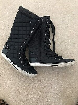 Ladies Next Lace Up Quilted Boots Size 3 Black
