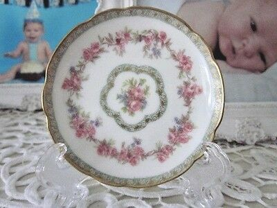 sweet antique haviland limoges pink floral gold trim butter pat w/stand