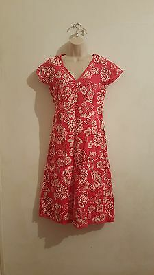 Women's Boden Floral Pattern Cotton Dress Size 8R