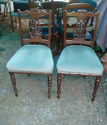 Pair of Victorian Side or Hall Chairs Carved Walnut