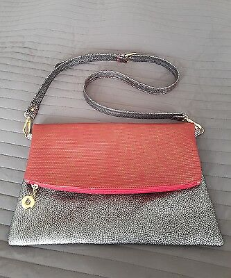 Red and Silver Italian Leather Fold Over Clutch and Cross Body Bag