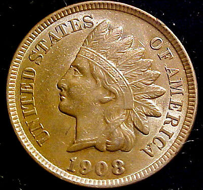 1908 Indian Head 1c Cent ~ Bright Chocolate Brown BU Coin!!! 31EJ