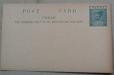 postal stationery perak 1c psc unused