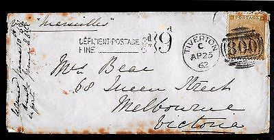 SG 86 - Tiverton 4/25/62 (earliest known date?)postage due to Australia -code975
