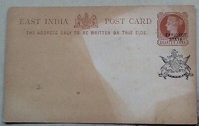 postal stationery QV 1/4a east india faridkot unused