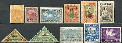 ESTONIA Small Lot of pre-WWII Stamps Mint MH CV 12.00