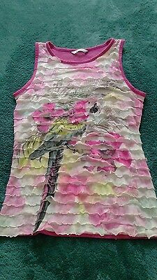 Pretty Girls Pink Ruffled Parrot Summer Top- Age 10-11 years