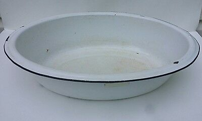 Large Vintage White Enameled Porcelain Oval Baby Bath Wash Tub Basin