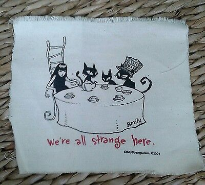 Emily the Strange fabric patch We Are All Strange Here tea party Goth