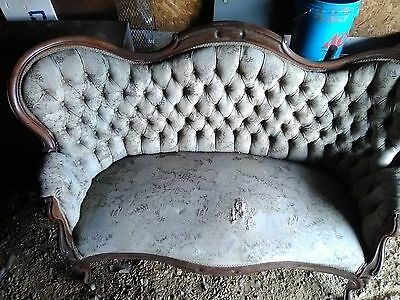 19th C Antique Victorian Loveseat Settee Tufted Back Sofa Chaise Couch Vintage