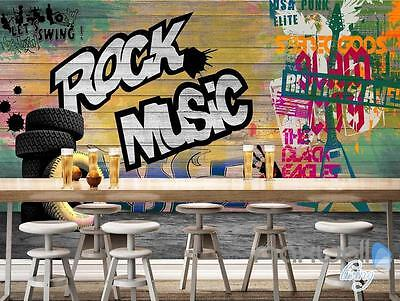 3D Graffiti Board Rock Music Wall Mural Paper Art Print Decals Decor Wallpaper
