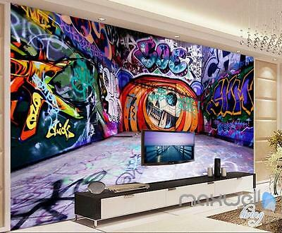 3D Graffiti Backstreet Pumpkin Head Wall Mural Paper Art Print Pub Bar Decals