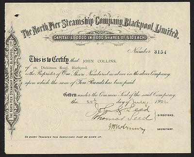 North Pier Steamship Co., Blackpool Ltd., £10 Share, 1901
