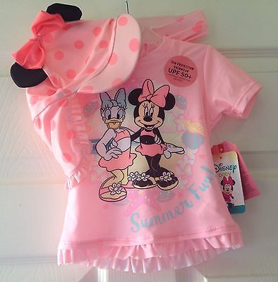 Girls 3 Piece Swimsuit with Hat Sun Protection Sunsafe Minnie Mouse NEW BNWT