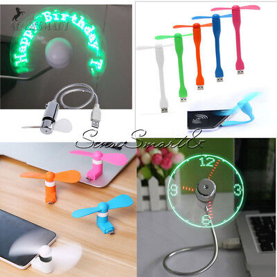 Portable Micro/Mini LED USB Cooling Clock Fan Flashing Real Time Display Android