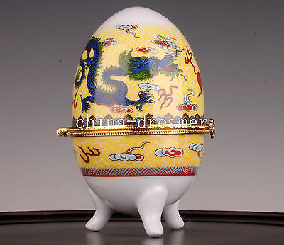 Jingdezhen Porcelain Yellow Dragon Egg Ornament Cup Box Collectable
