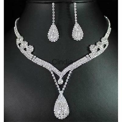 Silver Crystal Rhinestone Teardrop Necklace Earrings Bridal Jewelry Set