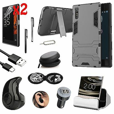 Black Kickstand Case Cover Charger Wireless Headset Accessory For Sony Xperia XA