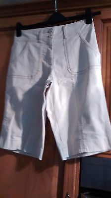 Marks/spencer Cream Cotton Board Shorts Size 10