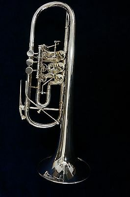 C Rotary Trumpet Jos. Monke Silver Plated