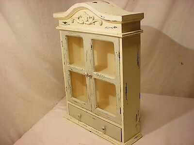 Vintage Wood Shabby Chic Shadow Box Curio Knick Knack Display Case Cabinet