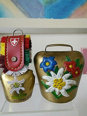 Vintage Pair of Swiss Cow Bells with Eidelweiss
