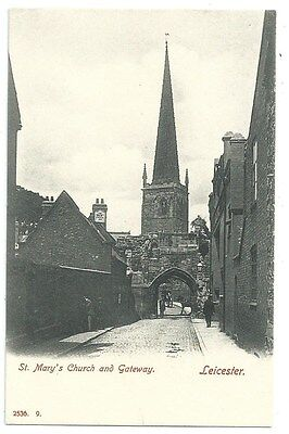 Vintage Postcard. St. Mary's Church & Gateway, Leicester. Unused  Ref:76312