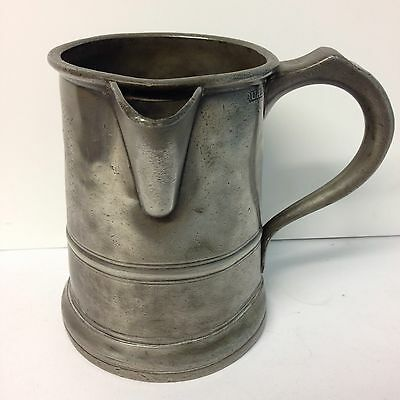 "Antique Pewter Quart Tankard With Pouring Spout With Inscription ""greyhound""?"