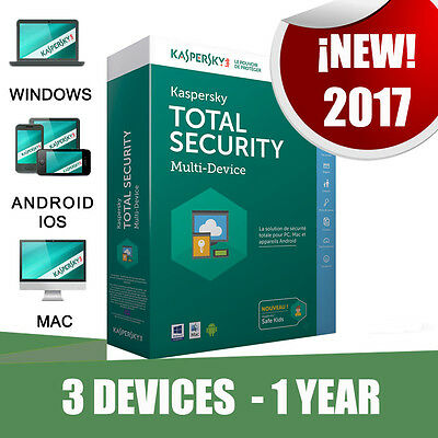 Kaspersky Total Security 3 Pc devices 1 year Original