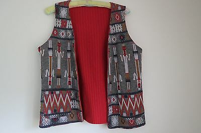 Vtg 70's Red Striped Southwestern Tribal Pattern Reversible Vest - Boho Festival