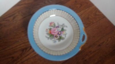 Vintage Noritake hand painted nut bowl Japan blue with flowers Wreath mark M