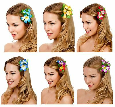 Hawaiian Flower Hair Clip Hula Luau Fancy Dress Costume Accessory Womens Ladies