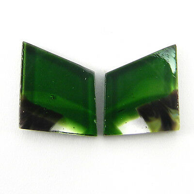 Beautiful 1 Pair Mexican Glass Gemstone 12x14mm Fancy Cab 10.9 Cts Stone ER8990