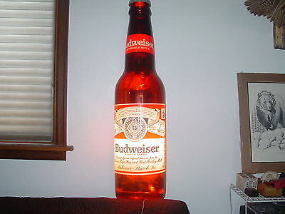 3 Ft. Tall Lighted Budweiser Beer Bottle Man-Cave Bar 1988