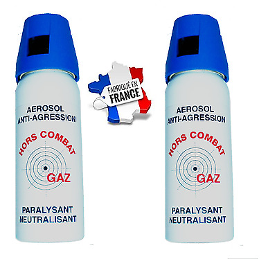 Bombe lacrymogene défense 50 ml GAZ CS+ 50 ml GAZ CS ultra efficace