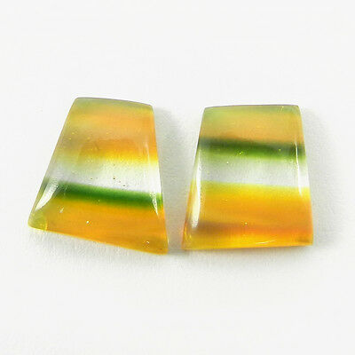 1 Pair Mexican Glass Gemstone 9x10mm Fancy Cab 5.3 Cts Stone ER9000