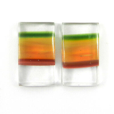 1 Pair Mexican Glass Gemstone 10x17mm Rectangle Cab 9.9 Cts Stone ER8997